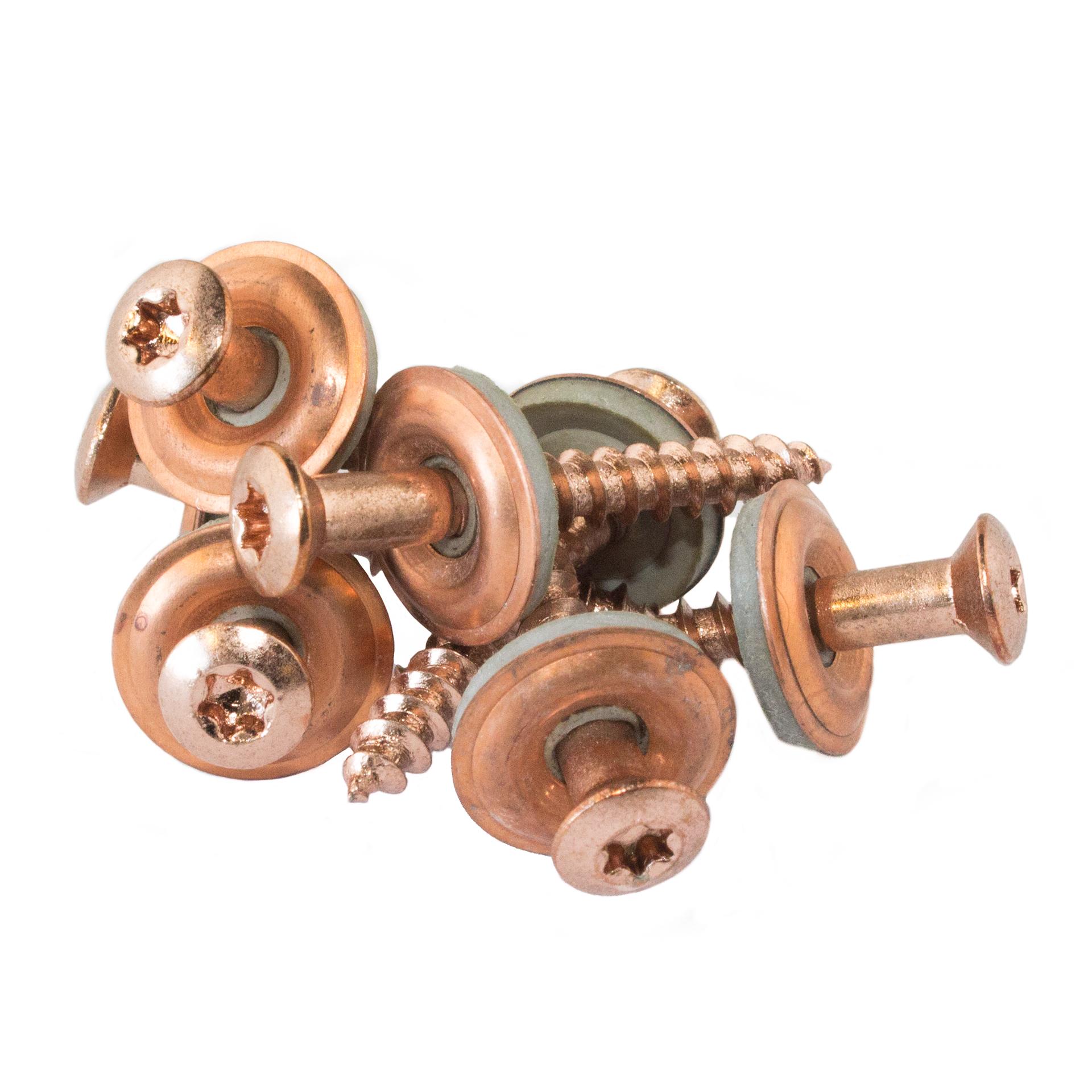 Kobberskrue m/pakning. forkobret rustfri. 4.5x35mm  - KOBBER - Skruer